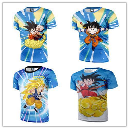 New Fashion Blue Dragonball Z Flying Kid Goku Short Sleeve T-shirt Tee Tops