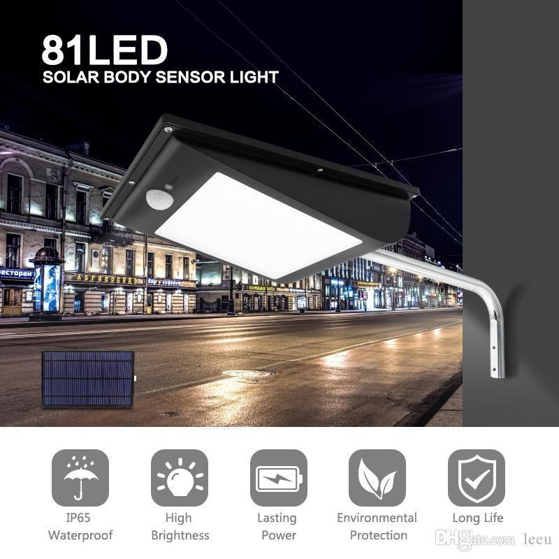 Датчик LED солнечного света Открытого 81Led 1000LM тело Пейзаж сад Освещение Водонепроницаемого Супер яркий Встроенные уличный фонарь IP65