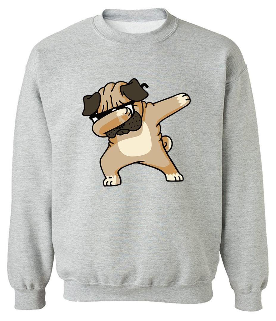 2019 새로운 패션 Streetwear Hoody 남자 Dabbing PUG 힙합 DOG 스웨터 만화 재미 있은 남자 Hoodies 풀 오버 스웨터