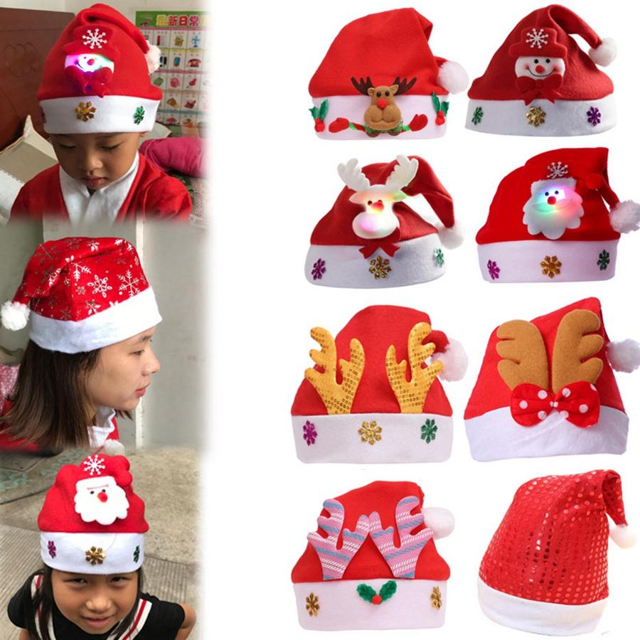 Kids Christmas Hats Cute Santa Claus Deer Snowman Beanie Caps Xmas Party Decor