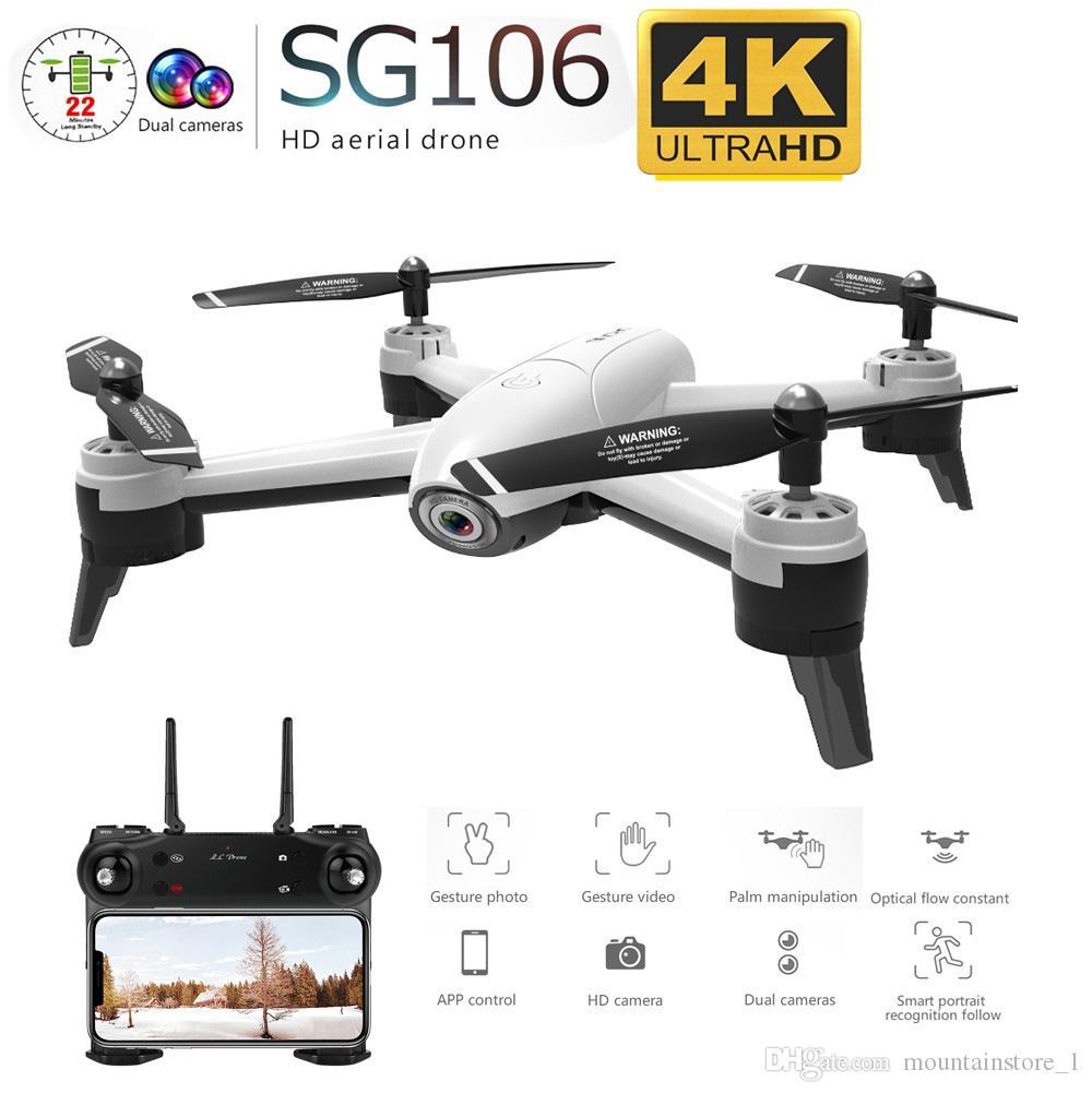 Recentemente SG106 WiFi FPV RC Drone 4K Camera flusso ottico 1080P HD doppia fotocamera Video aerea RC Quadcopter Velivolo Quadrocopter Giocattoli Kid (vendita al dettaglio)