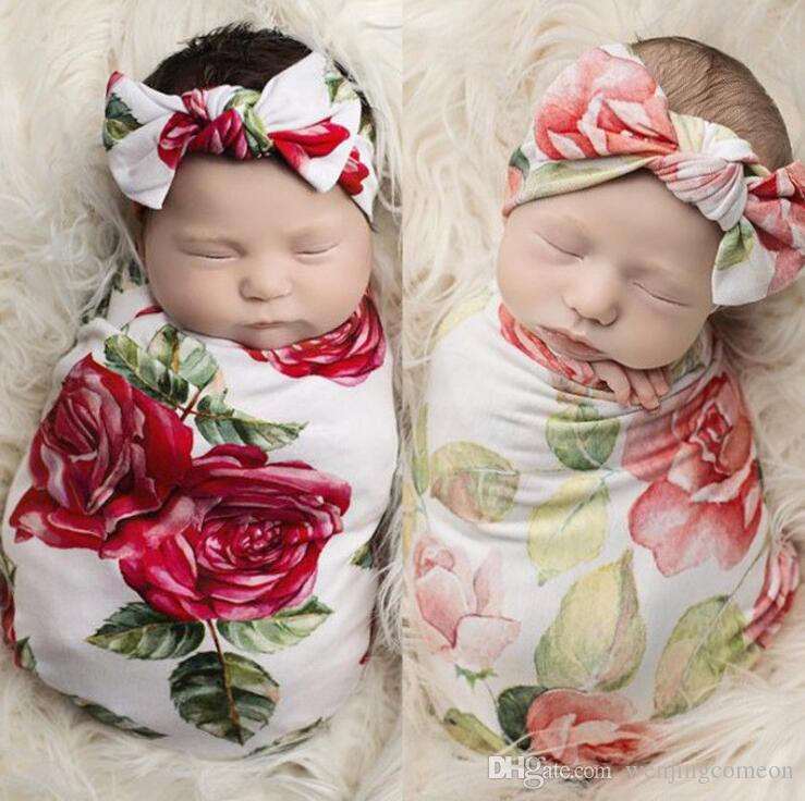 2Pcs Newborn Infant Baby Swaddle Blanket Sleeping Wrap + Headband Set Printed casual bow tie baby girl turban headbands Newest