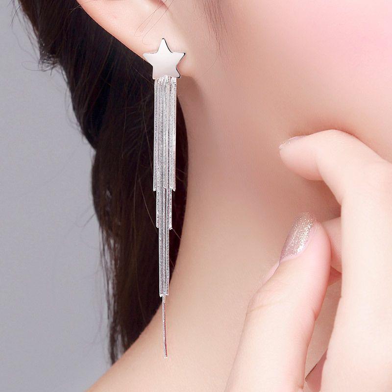 S925 Sterling Silber Ohrringe lange Quaste Ohrringe weibliche Stars Modelle 2020 neue Art und Weise jewerly Super Cent bemerkenswerter Face-Lift reines Silber