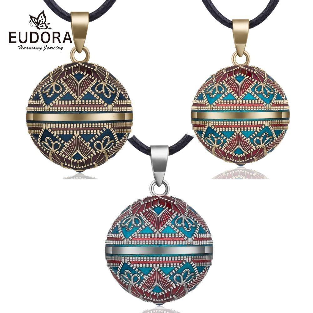 Eudora 20mm Vintage Mexican Bola Harmony Chime Ball Angel Caller Pregnancy Pendant Necklace For Women Fashion Jewelry N14nb319 GMX190709