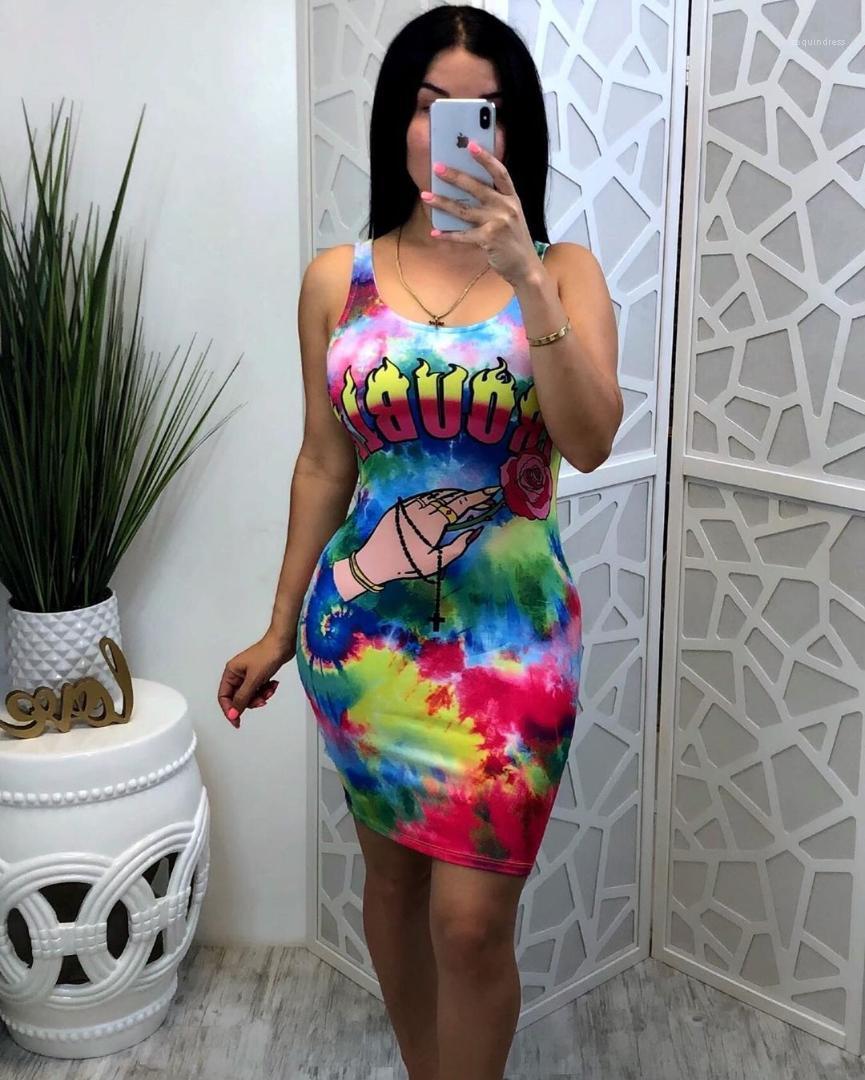 Print Casual Female Dresses Summer New Fashion Ladies Designer Clothing Tie Dye Sleeveless Womens Dresses Multicolor