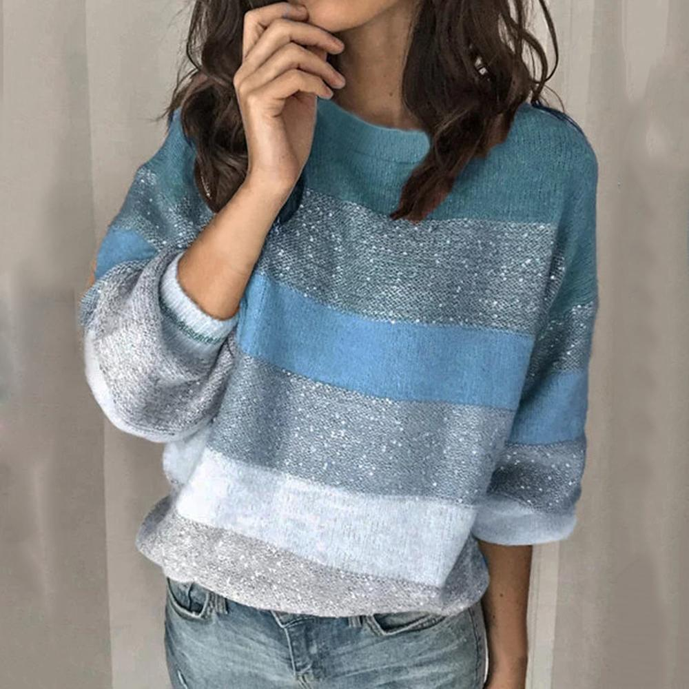 Mulheres O Neck Sweater Tops Ladies Casual Mulheres Outono Inverno retalhos Camisolas Long Sleeve Pullover Jumper Tops soltos Knitwears
