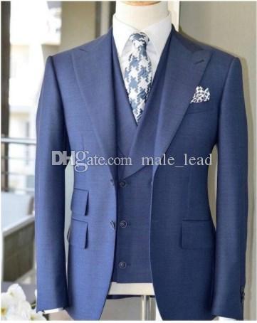 Yakışıklı Groomsmen Tepe Yaka Damat smokin Mens Gelinlik Man Ceket Blazer Balo Yemeği 3 Adet Suit (Ceket + Pantolon + Kravat + Vest) b289