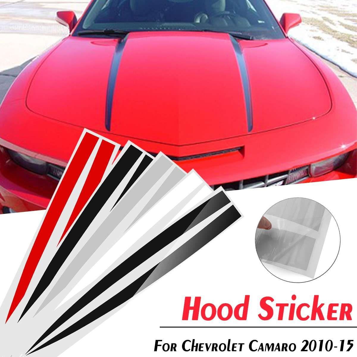 Motorhaube Stripe Vent Panel Aufkleber Aufkleber für Chevrolet Camaro 2010-2015 Schwarz / Matt Schwarz / Grau Splitter / Weiß / Rot