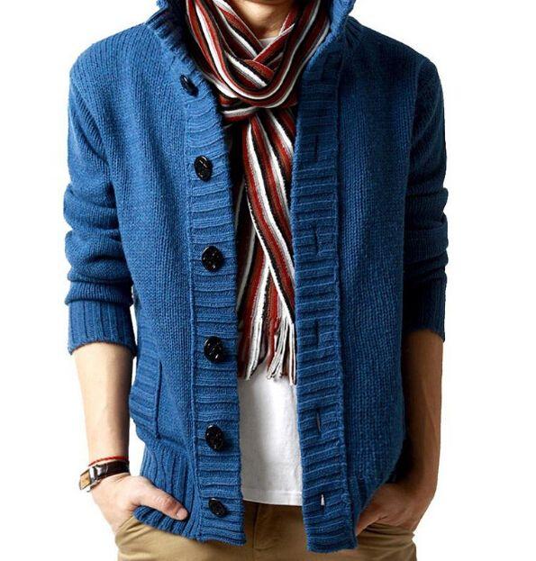 Maglione moda-nuovo inverno primavera uomo in cotone spesso maniche lunghe collo alla coreana cardigan solidi maglioni da uomo outwear pulsante