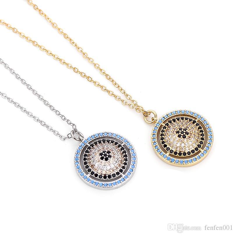 Pipitree متعدد زركون كبير جولة عين الشر قلادة قلادة النحاس الفضة الذهب اللون سلسلة مجوهرات القلائد للنساء الرجال