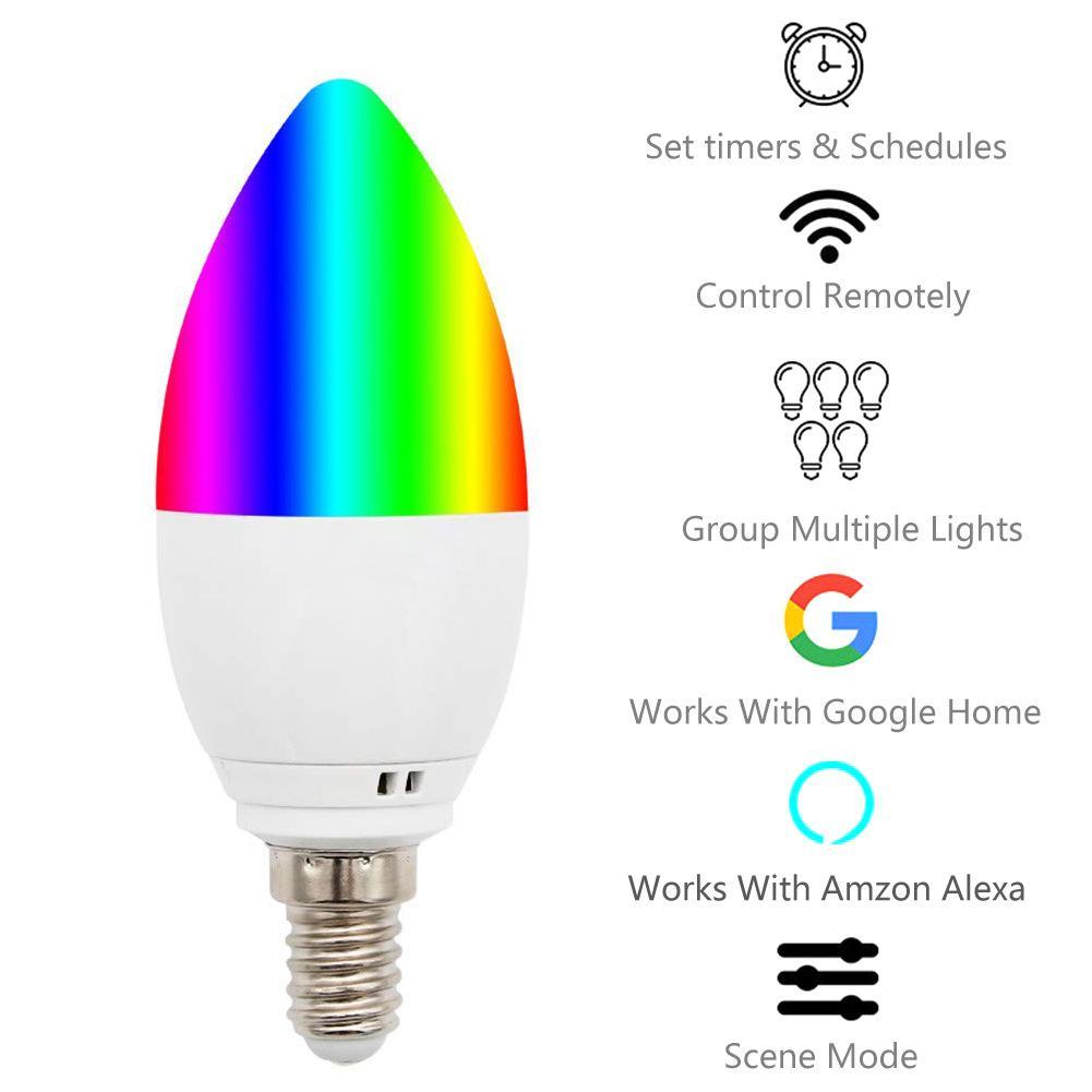 Smart Candle Bulb Wifi 5W E12 E14 E26 E27 APP Remote Control Alexa Echo Google Home Smart Dimmable Smart Led night Bulb