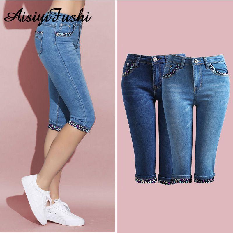 Compre Denim Skinny Jeans Para Mujer Stretch Moda Lunares Capris Jeans Mujeres Elastico Hasta La Rodilla Capris Pantalones Mujer Jeans Mujer Y19042901 A 15 87 Del Huang02 Dhgate Com