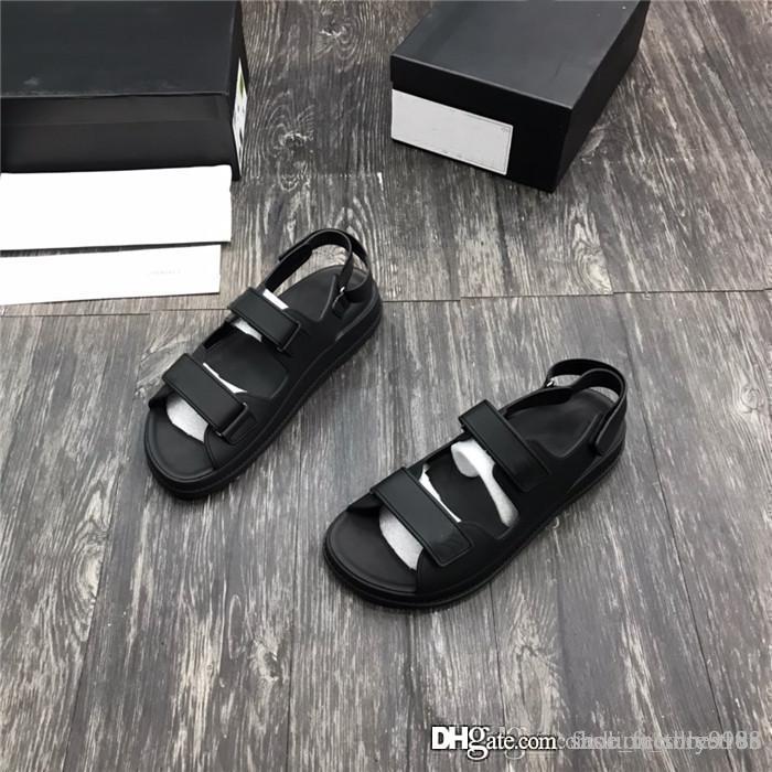 Sandalen Männer Sommer-Schwarz-Weiß-Strand Medus Slide Mode Scuffs Hausschuhe Qualitäts-im Freien Schuhe für Herren mit ursprünglichem Kasten Größe 38-45