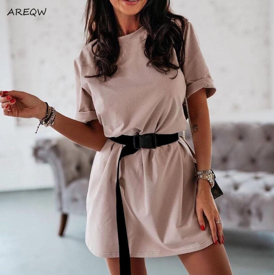 Kemer Yaz Casual Kısa Kollu Gevşek Gömlek Elbise Katı Elbiseler Kadın 2020 Yeni ile toptan Kadın Elbise