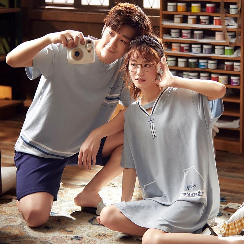 yHcbt 1X84y pijama de algodón de manga corta de los pares del camisón del verano la ropa del verano de las mujeres ropa de casa fijan cortocircuitos de la manga de los hombres de la mitad establecen algodón