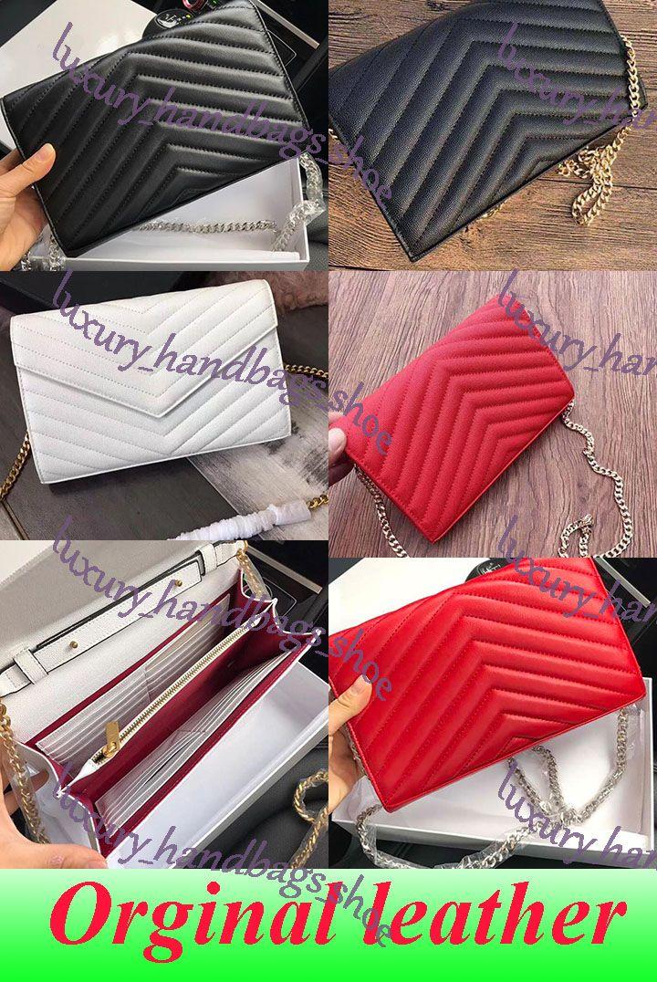 HOT SALE 5A Kuhfell Handtaschen Top-Schaffell Kaviar Metall-Kette Gold-Silber-Handtaschen-echtes Leder Tasche Flip Cover diagonal Schultertasche