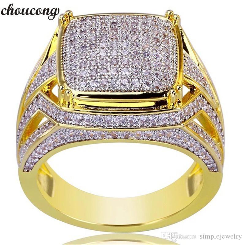 Choucong Main Homme Hiphop anneau Pave Réglage Diamant Or Jaune Rempli Bande De Mariage Anneaux pour hommes Or Couleur Bijoux
