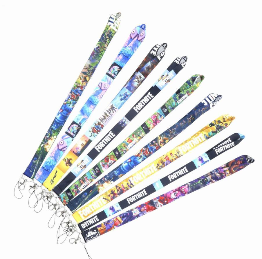 New 10 Pcs Fortnite Top Quality Universal Mobile Phone Strap Anime Cartoon Key Chain Neck Lanyard Badge Holder Strap K060