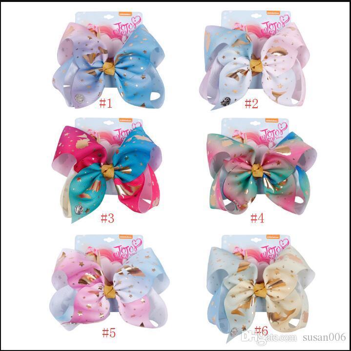 8 pollici clip Jojo Headwear Bow Con capelli 8 colori dei capelli Cheer archi colorati accessori per capelli Hand Made Boutique spedizione gratuita