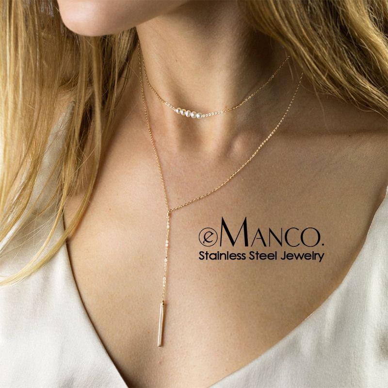 ه-مانكو تقليد اللؤلؤ قلادة قلادة النساء طويلة قلادة الفولاذ المقاوم للصدأ مجوهرات النساء قلادة