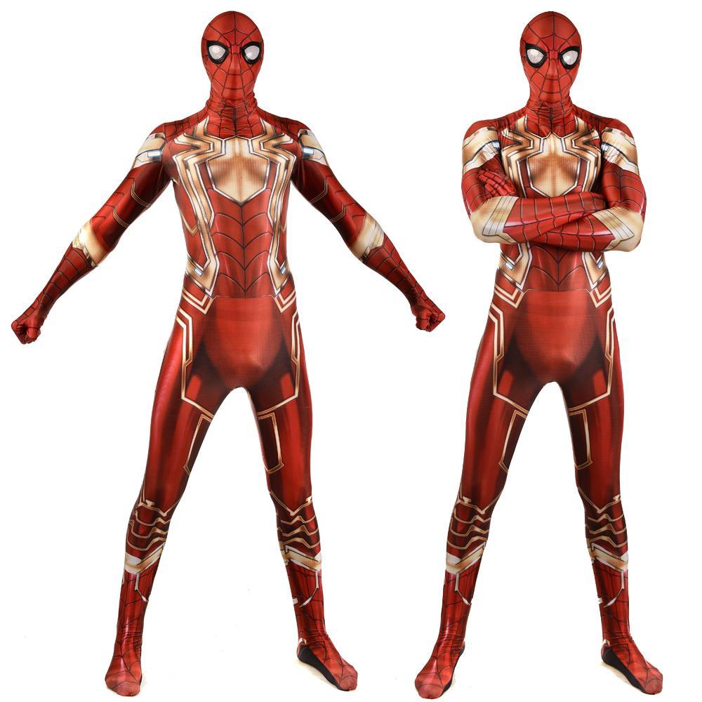 New design steel version spiderman Spider Man Tony Costume Superhero Spiderman Bodysuit Lycra Spandex Cosplay Jumpsuit for Adults Kids