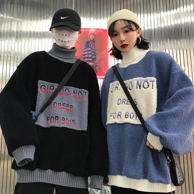 Kış Yeni Kuzu Kürk Kapüşonlular Erkekler Sıcak Kalın Moda Çapraz Renk Casual Yüksek Yaka Kazak Sokak Yabani Hip Hop Gevşek Kazak