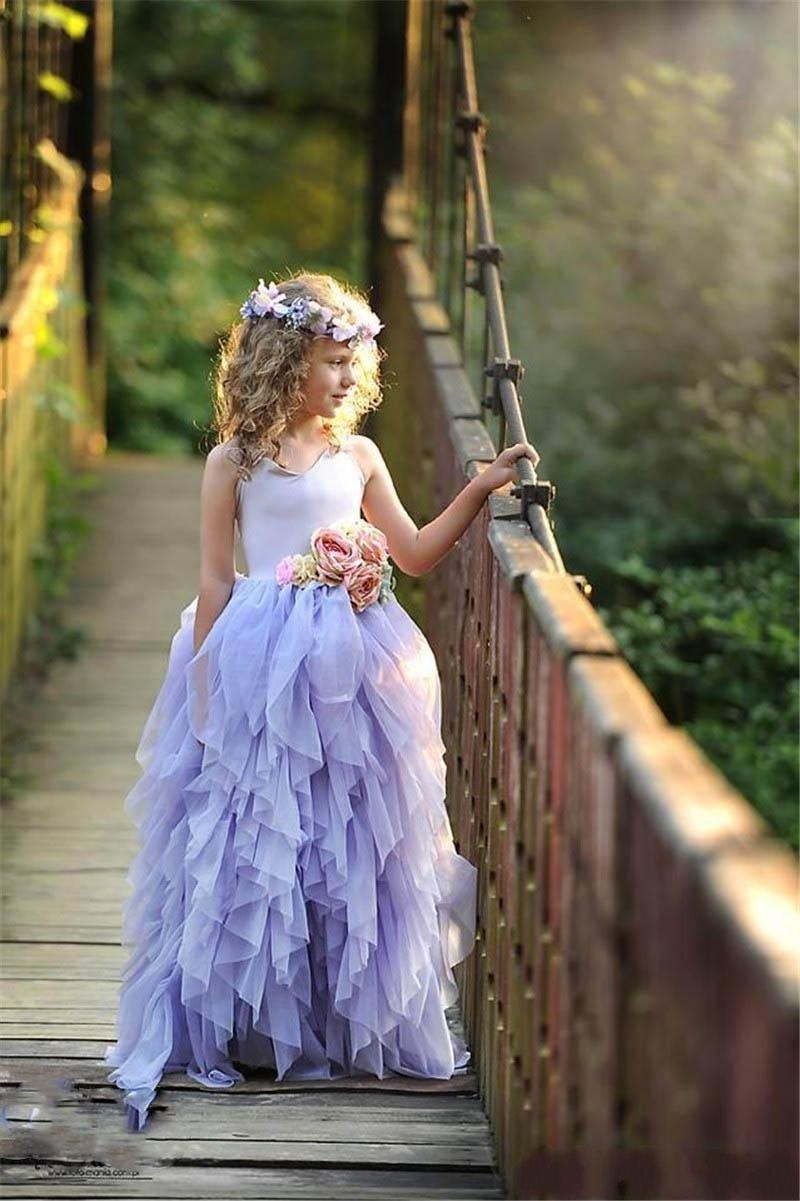 Personalizado feita lavanda cautela meninas pageant vestidos de tule camadas longas flor menina vestidos para flores coloridas flores retrocessos bebê vestido de festa