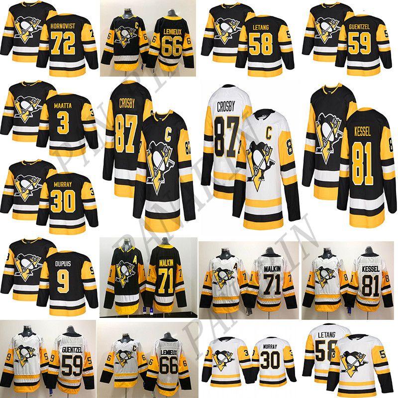 Pittsburgh Penguins 87 Sidney Crosby 71 Evgeni Malkin 58 Kris Letang 59 Jake Guentzel 72 Patric Hornqvist Hommes Respirant Hockey Maillots