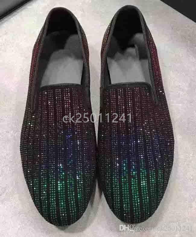 2019 Tasarımcı ayakkabı erkekler rahat ayakkabılar 360 derece Swarovski Kristal slayt makosenler Joker kolay düşük devlet erkek ayakkabıları büyüklüğü 38-44 ck02b ile