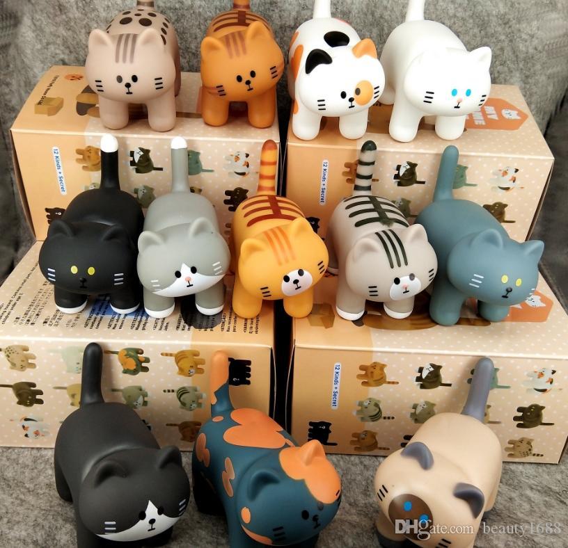 12pcs / set série animal mignon animal japonais mignon petit chat main Silicon articles d'ameublement en PVC Poupée Accueil Machine Doll Egg BLIND BOX WJ45