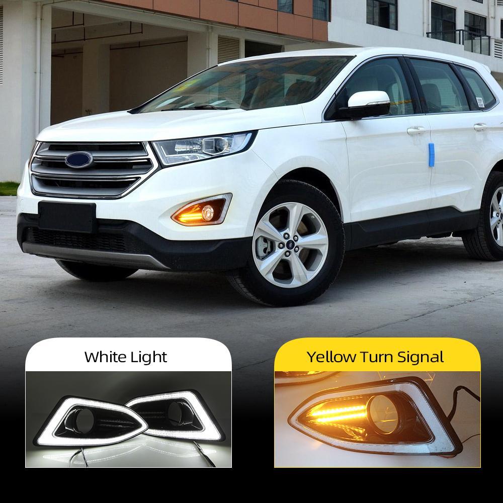 Yeşil ikinci, sarı siganl Sis Lambası kapağı ile Işığı Running 2pcs Otomobil için LED DRL için Ford Kenar 2015 2016 2017 2018 Gündüz