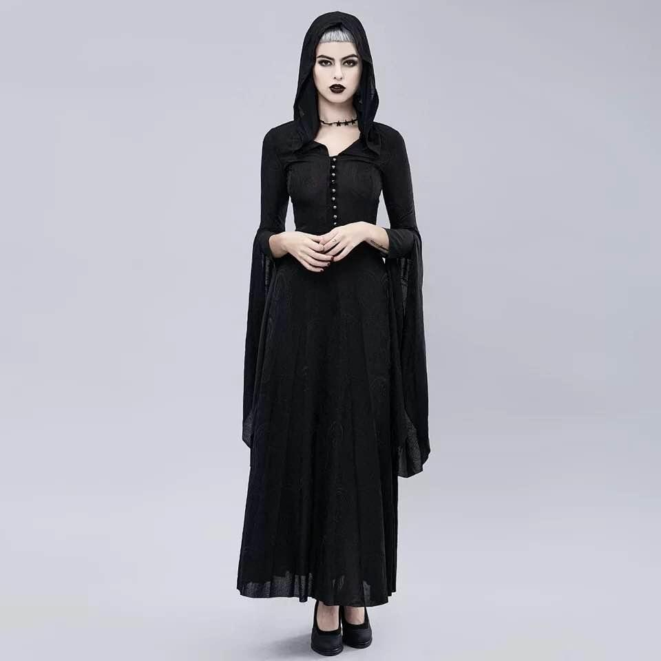 Gotico medioevale Gown Dress Retro partito autunno casuale delle donne di Halloween Cosplay Prom Nero Goth Maxi Dresss più il formato S-3XL