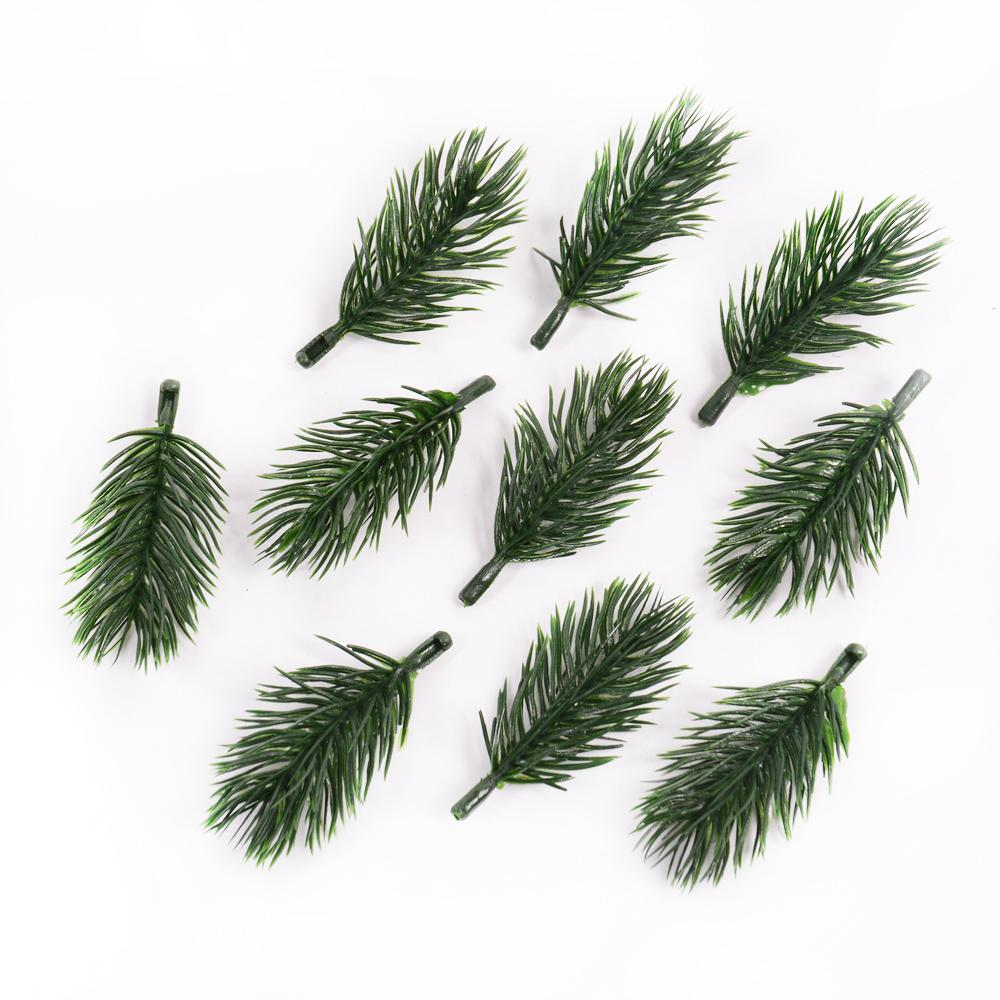 10pcs Green Pine Needle Artificial Flower Branch For Christmas Home Handcraft Wreath Gifts Scrapbooking Decoration Fake Plants