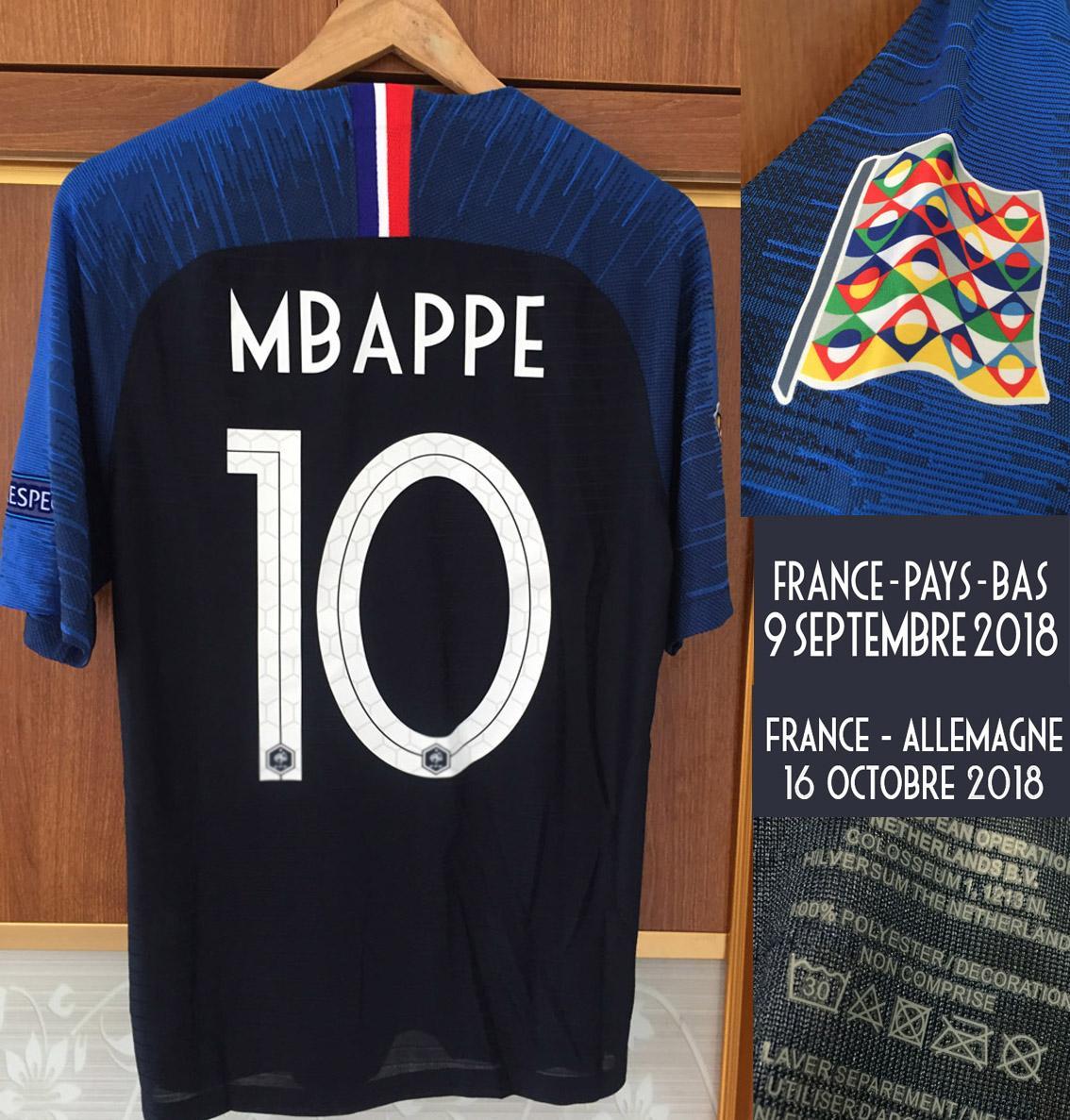 2019 Nations League Jogador Worn Player Propósito Mbappe Grisezmann Pogba vs Allemagne Pays-Bas Match Detalhes Maillot Shirt