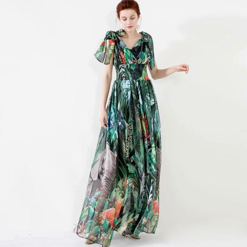 Kadın Pist Elbiseler Seksi V Yaka Kolsuz Dantel Yukarı Bow Baskılı Elastik Bel Şık Uzun Çiçekli Elbise