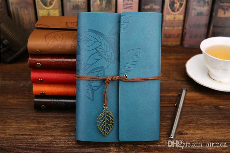 Vintage Leaves PU Leather Cover Notebook Retro Blank Diary Note Book Notepad Traveler Journal Planner Sketchbook Agenda Caderno