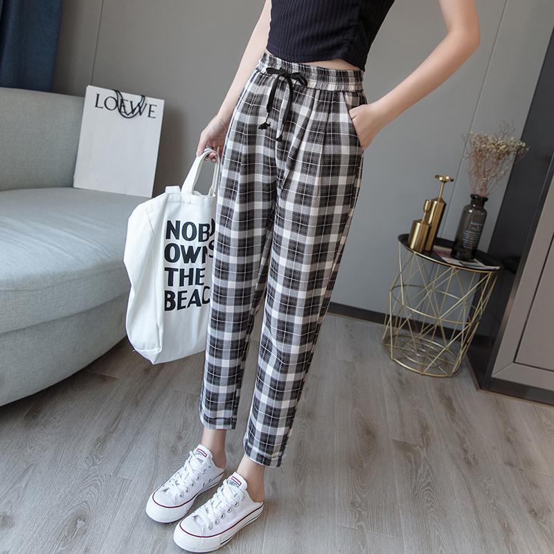 Pantalones de tela escocesa de sección delgada de verano para mujer pantalones de harén casuales imitación de lino nueve lápiz rizado suelto de gran tamaño S-3X