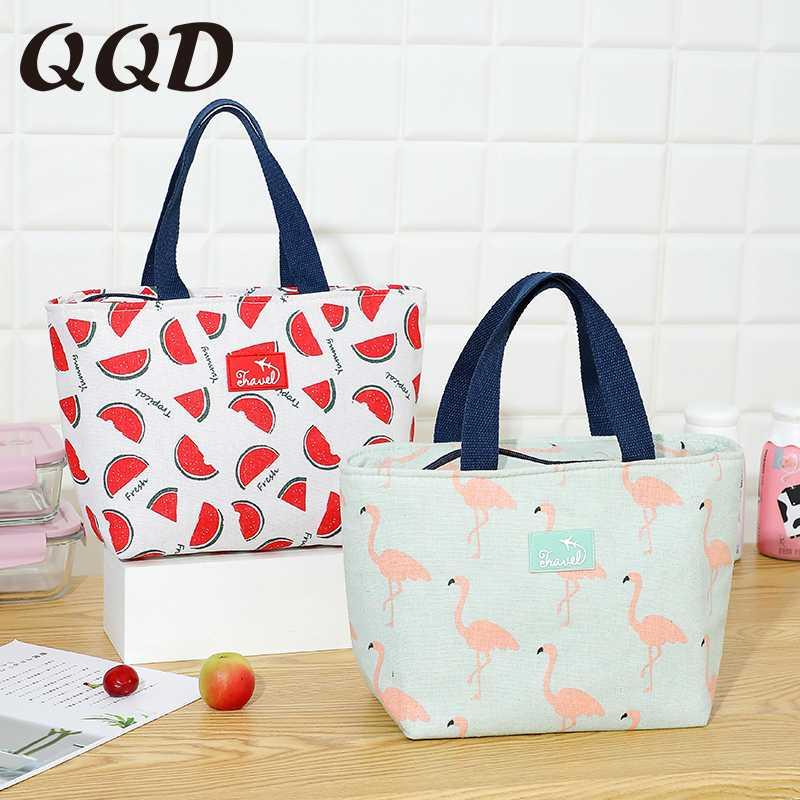 Kadınların portatif termal torba su geçirmez seyahat piknik okul kahvaltı soğutucusu kutusu moda için QQD pamuk keten öğle yemeği çantası