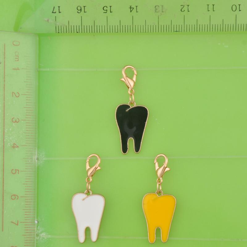 metal dourado dangle artesanais dente esmalte dos dentes encantos com pingentes de fecho de pulseira / colar / brinco jóias fazendo charmSize