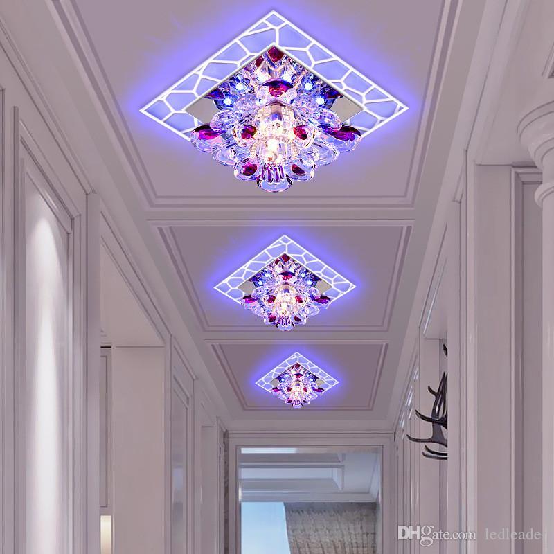 Modern minimalist led aisle corridor lights square foyer ceiling lamp porch creative crystal spotlights light -L106