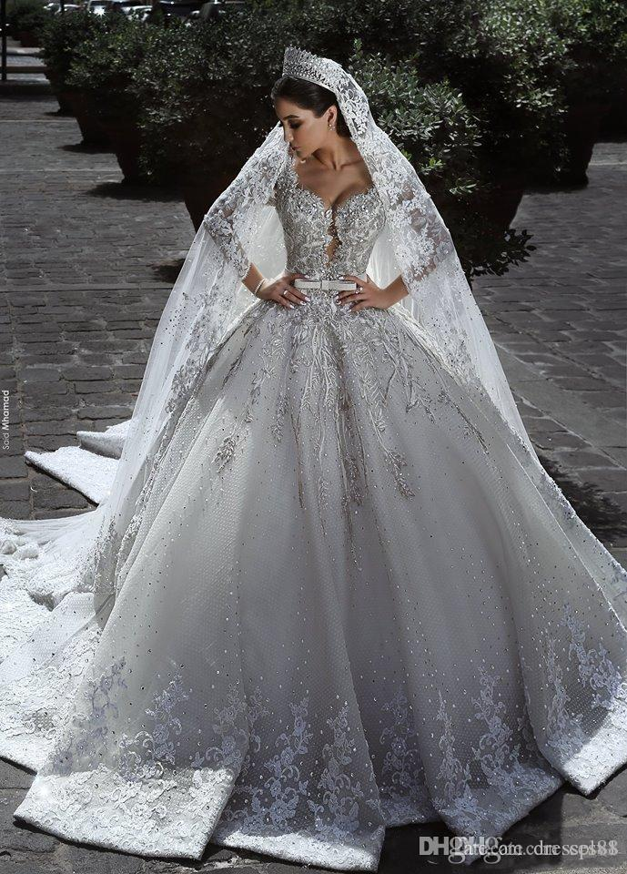 2021 Vestidos de Novia 빈티지 럭셔리 하얀 웨딩 드레스 긴 소매 레이스 공 가운 아프리카 플러스 사이즈 무슬림 비즈 Zuhair Murad 신부 가운