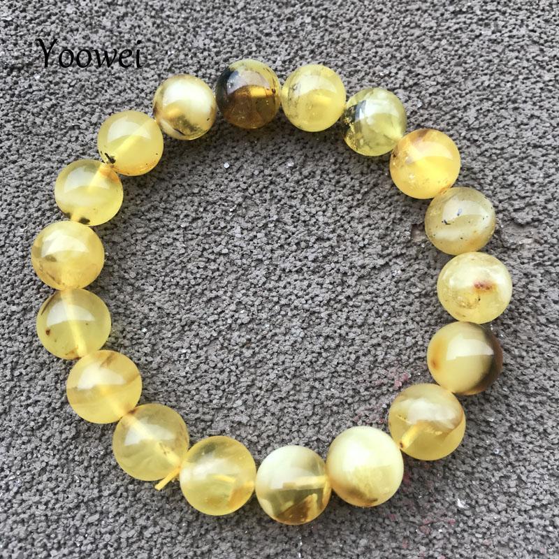 Yoowei 10MM الطبيعية النباتية العنبر سوار الخرز جولة الخاص هدية الأصل البلطيق الأحجار الكريمة الخضراء العنبر المجوهرات بالجملة