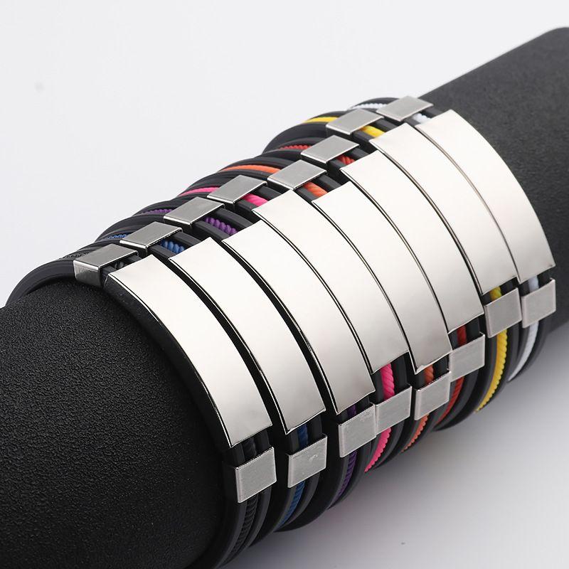 Bracciale in acciaio inossidabile 316L in silicone per uomo donna Coppia in acciaio nero con involucro in silicone Bangle 2019 Moda in acciaio al titanio Sport gioielli in massa