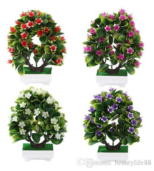 45 # زهور اصطناعية وهمية الخضراء وعاء ليلى بونساي محاكاة زهرة منمنمات المناظر الطبيعية الحلي لتزيين المنزل فندق ديكور الحديقة
