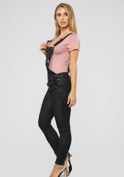 Schwarz Bib Pants nette Art Freizeitkleidung Frauen-Sommer-Designer Jeans Jumpsuits Taschen Modedesigner Weste