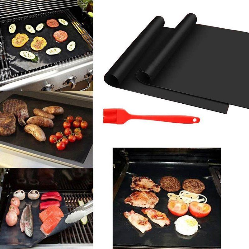 5PCS 블랙 엑스트라 두꺼운 내열 테프론 BBQ 그릴 매트 베이킹 재사용 가능한 비 스틱 바베큐 굽고 시트 라이너 BBQ 도구 요리