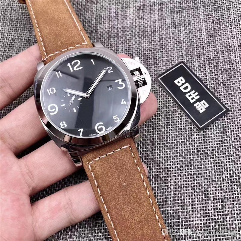 2019 Top Brand Design Original Dois anos e meio agulha cheia de luxo dos homens funcionais relógios clássicos Suede couro banda Chronograph Mechan