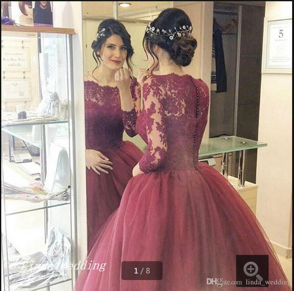 großhandel 2019 romantische burgunder hochzeitskleid puffy ballkleid spitze  mit langen Ärmeln traum prinzessin braut party kleider plus size vestido