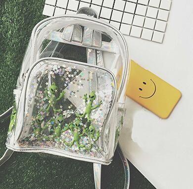 Chic Impermeable Mochila transparente para mujer Star Alien Mochila Cute Laser Bag Harajuku Schoolbag para niñas adolescentes Casual Beach Bag