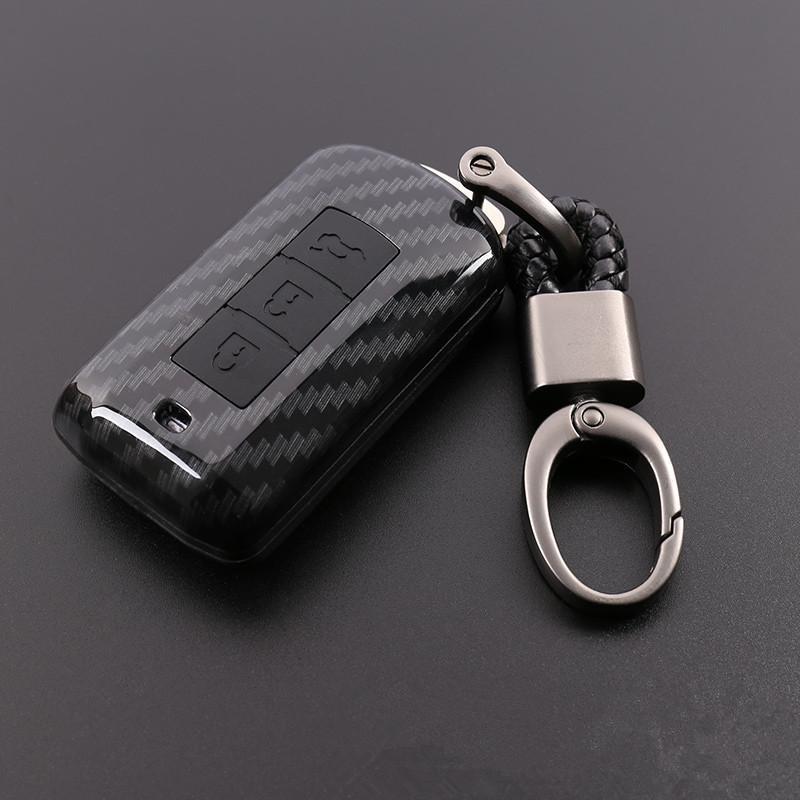voiture carbone PVC cas de couverture de clé pour Mitsubishi Outlander Lancer 10 Pajero Sport ASX L200 3 boutons RVR Smart Key